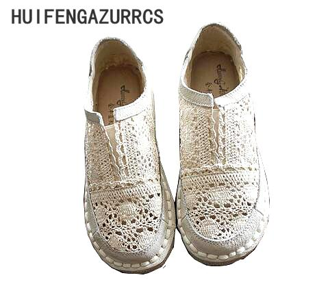 Zapatos de cuero genuino de Huifengazurrcs, zapatos perezosos hechos a mano puros, zapatos ocasionales de la flor de las señoras del gancho del cordón, zapatos planos del arte dulce, 2color Y190704