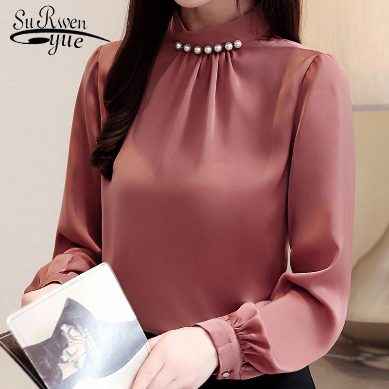 Fashion womens tops and blouses beading stand collar office blouse women chiffon blouse shirt long sleeve women shirts 2553 50 CX200615