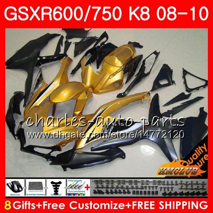 Carrocería para SUZUKI GSX-R600 GSXR-750 GSXR600 Negro dorado nuevo 2008 2009 2010 9HC.98 GSXR750 GSX R750 R600 K8 GSXR 600 750 08 09 10 Carenados