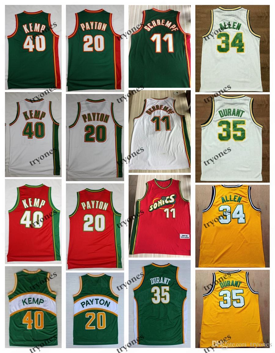 NCAA Vintage 20 Eldiven Gary Payton Kevin Durant 40 Reign Man Shawn Kemp 11 Detlef Schrempf Ray Allen Kırmızı Yeşil Basketbol Forması