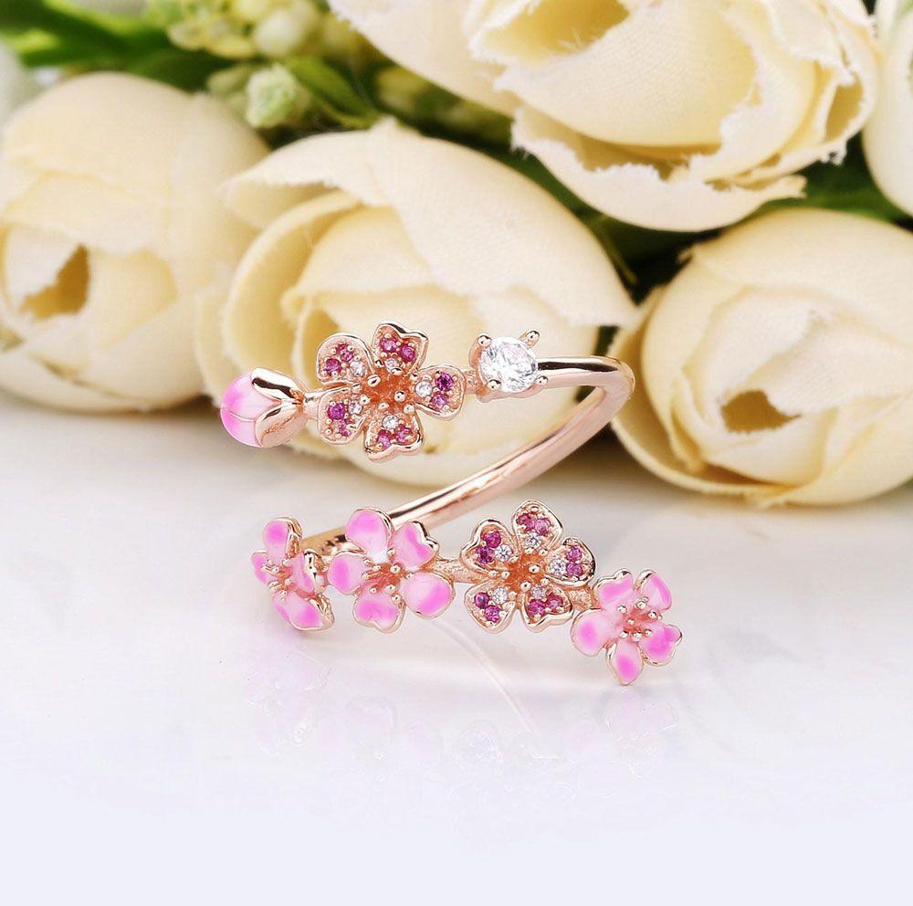 Acheter 100% 925 Sterling Silver Rose Fleur De Pêche Fleur Branche Anneau  Fit Pandora Bijoux Fiançailles Amoureux De Mariage Anneau De Mode De 8,58 €  ...