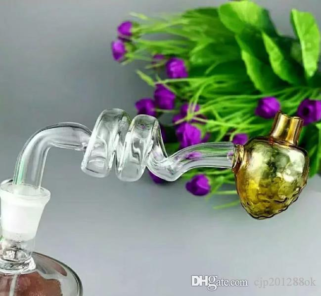 The spiral glass pot strawberry Wholesale bongs Oil Burner Pipes Water Pipes Glass Pipe Oil Rigs Smoking, Free Shipping