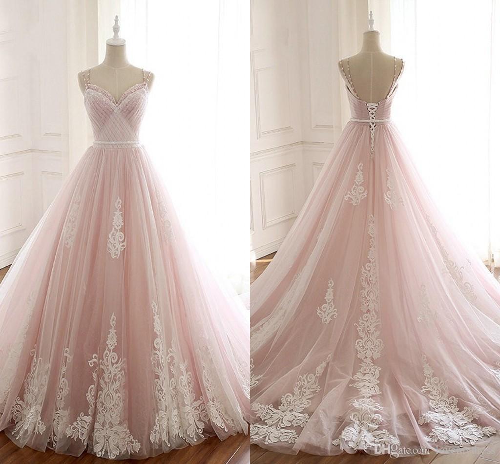 Discount 2019 Light 3d Flowers Pink Wedding Dresses A Line V Neck
