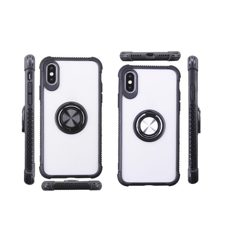 Per iPhone 11 Pro Max XS X XR 8 più la cassa del telefono copertura trasparente TPU Acrilico trasparente 360 gradi del supporto dell'anello Copue