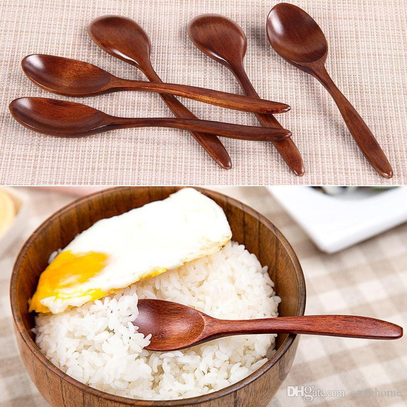 Урожай деревянный Soup Spoon Кухня Готовим Utensil инструмент суповая ложка чайная ложка Кухня Кулинария аксессуары Инструменты