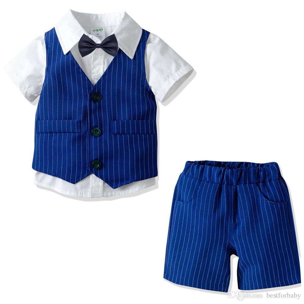 80cm-130cm Baby Boy Bodysuit Gentleman Outfits Suits Solid Bowtie Short Sleeve Shirt Strip Vest Pants Overalls Clothes Set