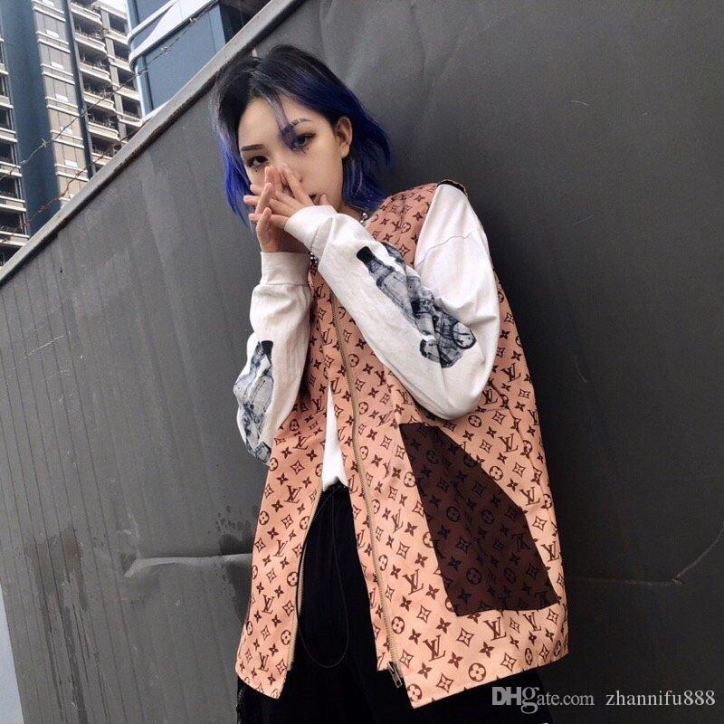 2020 Brasão completa Letter corpo European High Street Style mulheres Moda Clássica Vest exclusivo Imprimir Duplo bolso emenda 3D Casacos