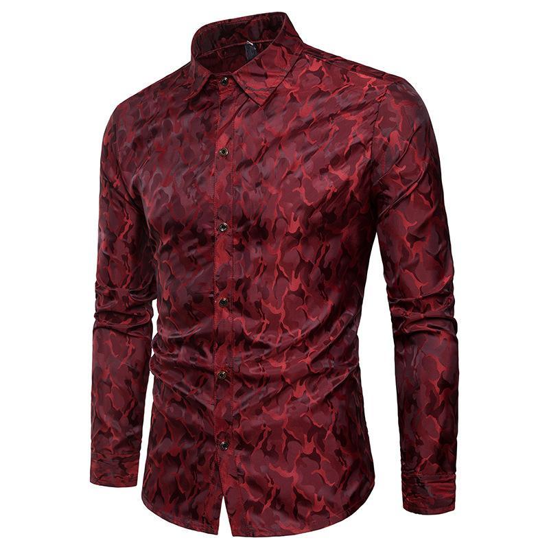 İpek Saten Gömlek erkekler 2018 Yepyeni Tuxedo Gömlek Parlak Kamuflaj Gelinlik Gömlek Print Pürüzsüz Casual Slim Fit Mor Gömlek Y200104