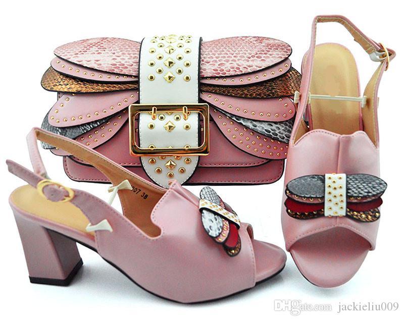 Bombas mulheres-de-rosa bonitas com decoração de metal sapatos africanos corresponder ao conjunto de bolsa para YM007A vestido, 8cm calcanhar