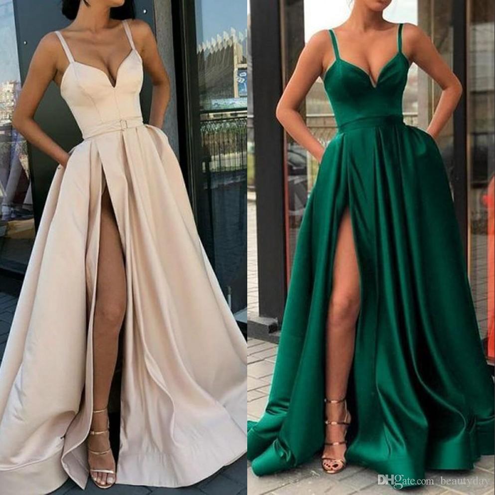 Dividir altos vestidos de noche 2020 con Dubai partido formal de los vestidos de Oriente Medio vestido de fiesta correas espaguetis más del tamaño Vestidos de Fiesta