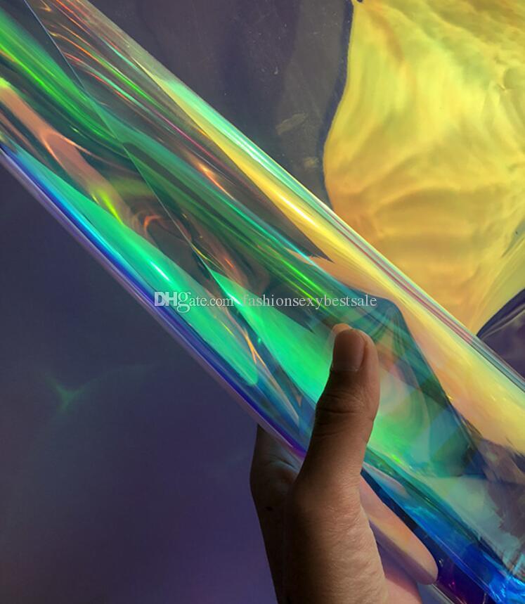 0.3mm Transparent illusion laser pvc mirror colorful fluorescent cloth bag waterproof tpu shirt fabric diy home textiles patch fabric C564