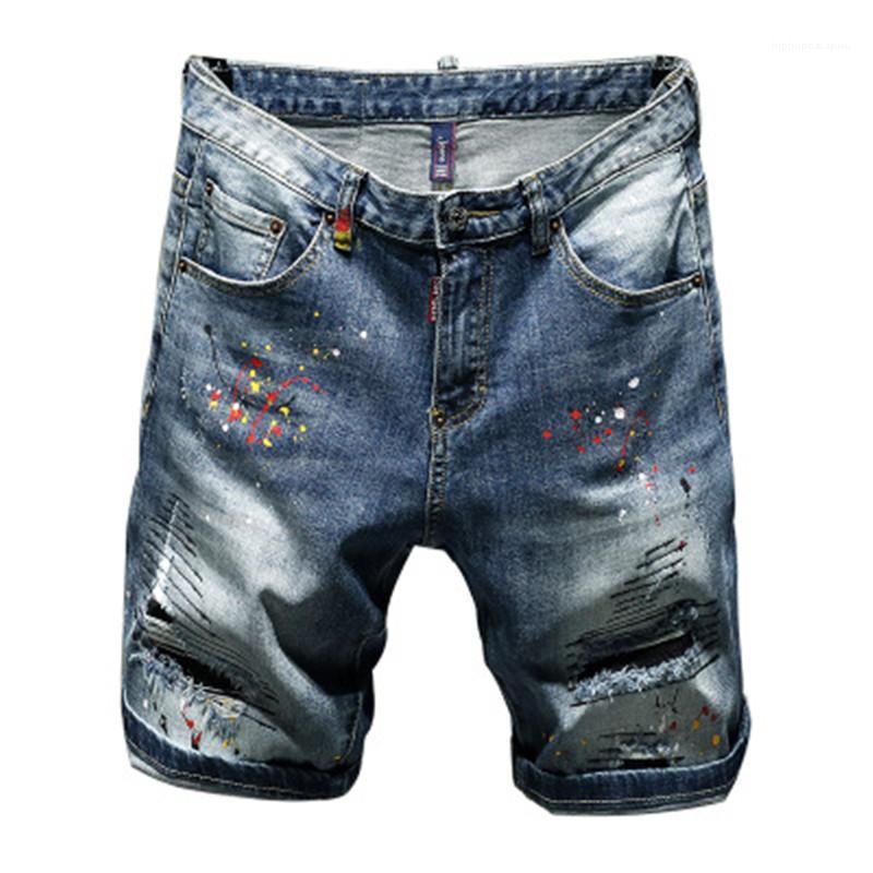 Black Cotton Wash Jeans Ripped vêtements pour hommes Hommes Trou Denim Pause Patch Survêtement Fashion Slim Fit Micro élastique Casual