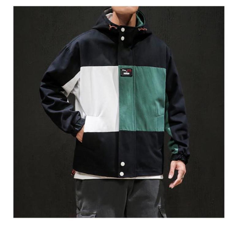 Мужчины Контраст цвета куртки конструктора Hip Hop Повседневная куртка осень с длинным рукавом нагрудные шеи Сыпучие Мужчины Одежда
