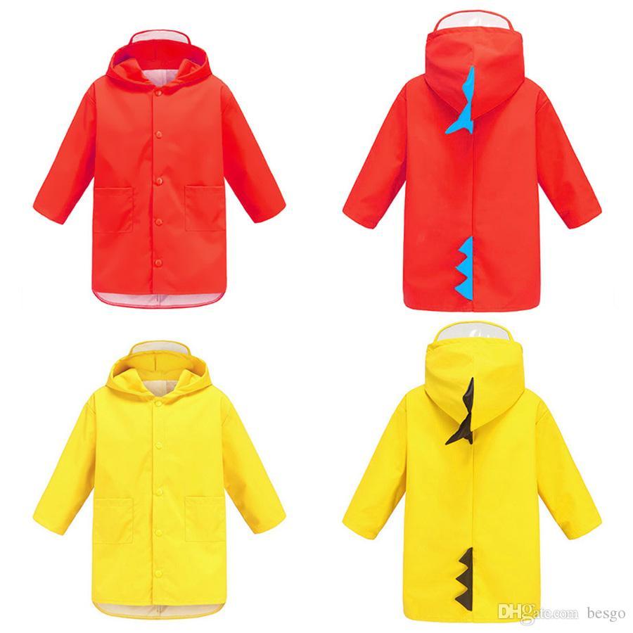 محمول بنين بنات صامد للريح ماء لبس المعطف الاطفال الديناصور لطيف على شكل مقنع الأطفال أصفر أحمر عباءة DH0752 T03