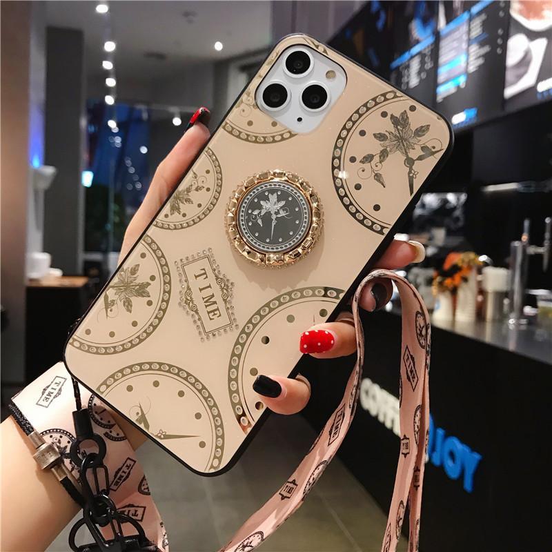 Cuero de lujo de la caja del teléfono para el iphone SE 2 11 Pro Max Xs caso a prueba de golpes Xr X para el iPhone 7 8 Plus 6s 6 con correa