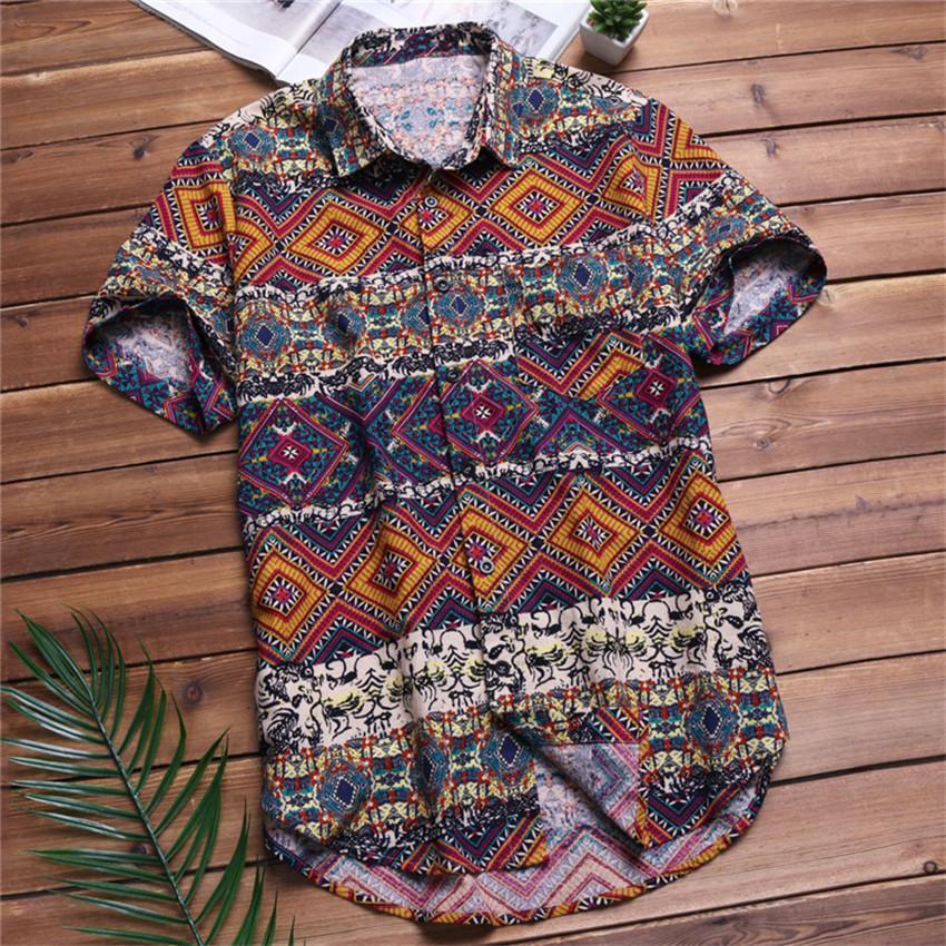 2020 Männer Shirts Kurzarm Printed Tasche bunte beiläufige Bluse Hawaii-Hemd Male Tops Sommer Geometric Plus Size Shirts 5X MX200518