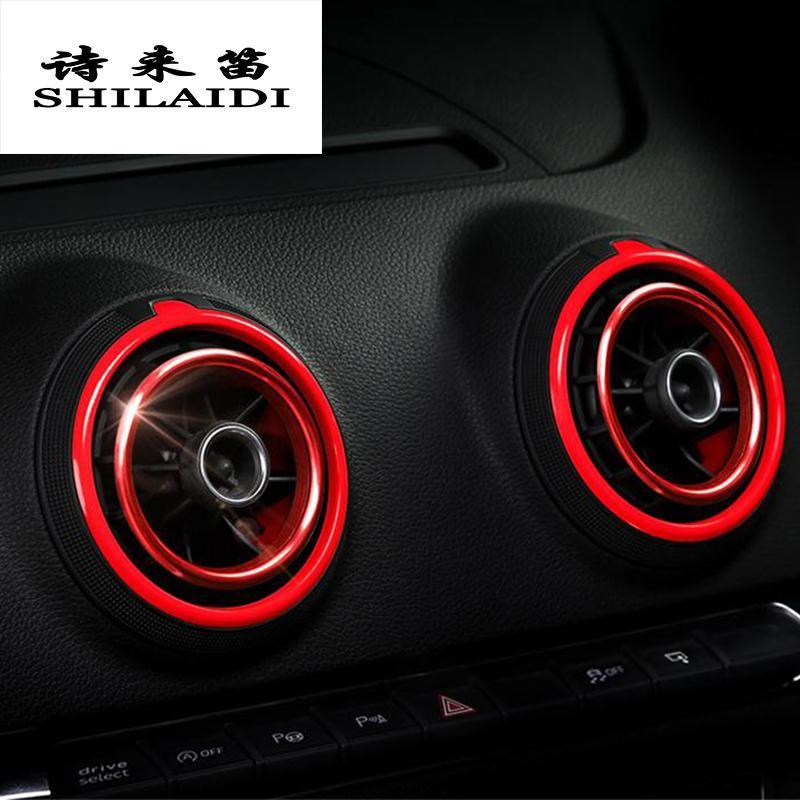 Автомобильный укладчик алюминиевый сплав Air Outlet Plug Instruments Air Outlet Cover Наклейки Украшение Кольцо для Audi A3 S3 Авто Аксессуары