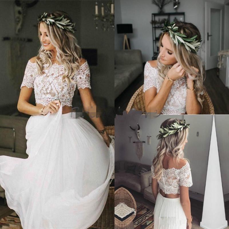 Two Piece Wedding Dresses Crop Top Lace Bateau Neckline Chiffon Country Wedding Dress Short Sleeve Button Back Cheap Boho Bridal Gown
