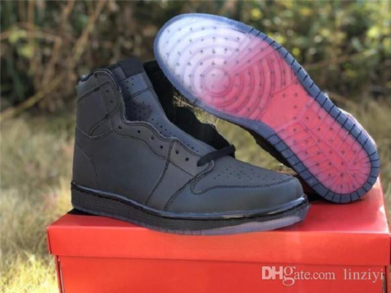 С коробкой 1 зум бесстрашный баскетбол обувь высокого дизайнер обуви светоотражающие черный счастливый зеленый Varsity Красный R2T Хамелеон 3М классический удобную кроссовки