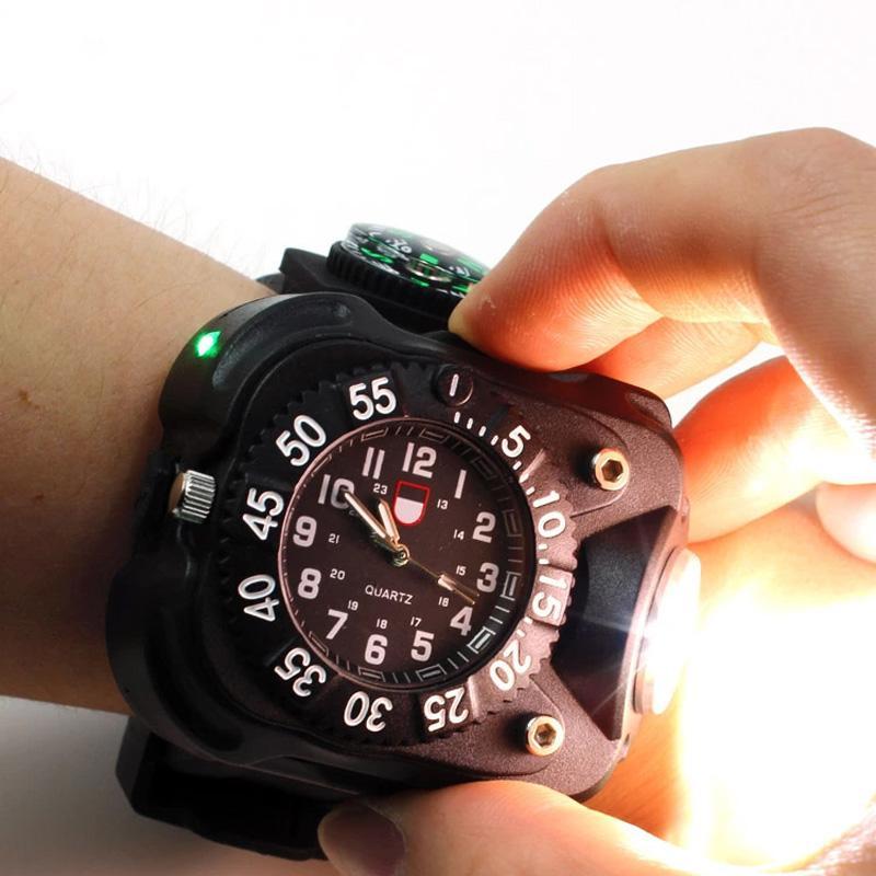 3in1 super lumineux led lampe de poche lampe de poche s'allume boussole sports de plein air mens mode imperméable rechargeable montre-bracelet lampe
