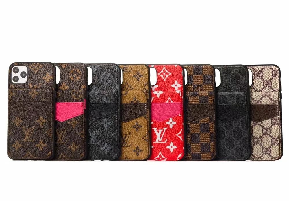 Leather Brand Designer Case Phone Case for Iphone 11 pro max X XR Xs Max 6 6s 7 8 Plus Cover Shell Card Wallet A14