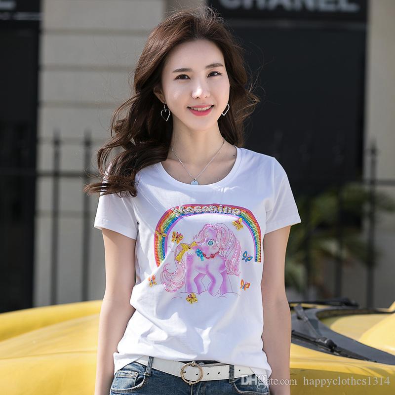 Camiseta de lentejuelas de verano más vendida Diseño de lujo Cristal de mujer Motivos de arreglo caliente Camisetas 3D Office Lady Business Sexy Slim Beading Graphic Tops