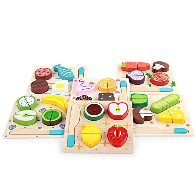 الجملة مطبخ خشبي قطع الفاكهة والخضروات مجلس الحياة الحقيقية لعبة 6 نماذج كيد الأطفال التعليمية الطفل اللعب ألعاب خشبية