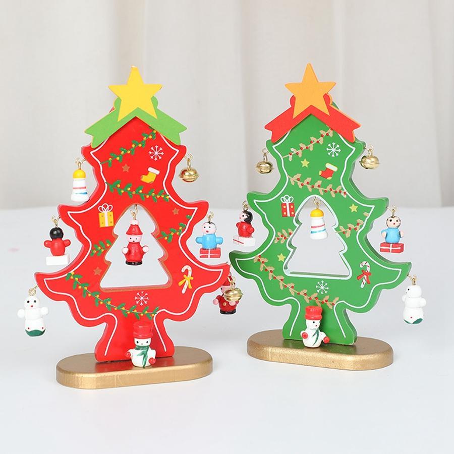 Árbol de Navidad de madera con decoraciones colgantes de bricolaje Campanas de Navidad árbol de la tabla del mini del partido Inicio del ornamento Suministros TTA2116-2