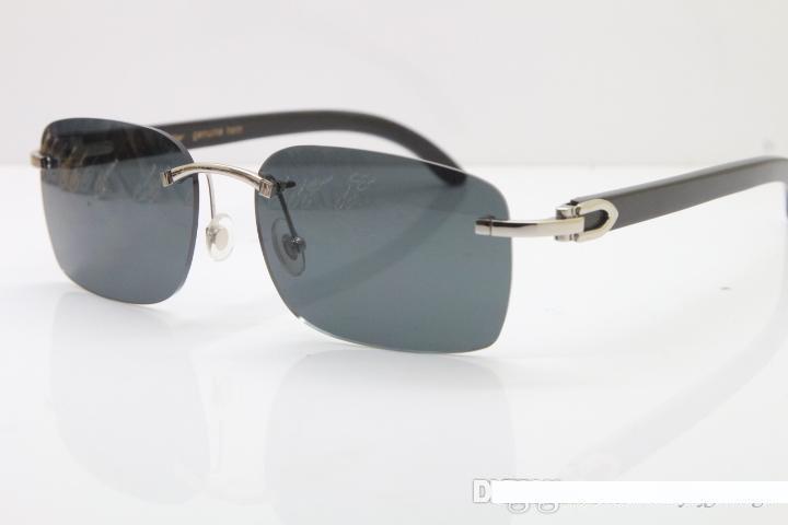 Proveedores superiores al por mayor caliente sin rebordes 8200759 diseñador de gafas de sol hombres clásico CRISTAL Negro Buffalo Horn gafas de sol del tamaño constructivo: 60-18-140mm