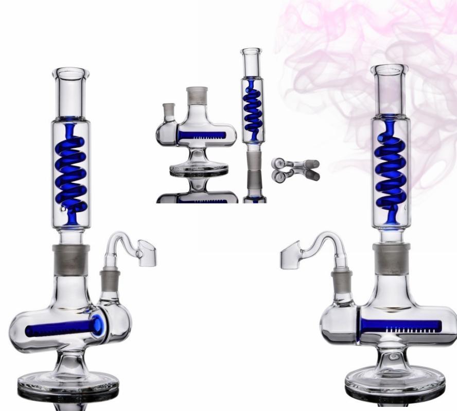Freezable Coil Tube glass bong Double Matrix Perc bongs glass water pipe for smoking build a bubbler bong hookah