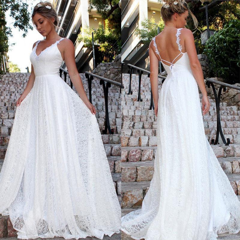 Kadın Örgün Düğün Uzun Parti Topu Elbise Dantel şifon Uzun Maxi Elbise Katı Beyaz Backless Sundress