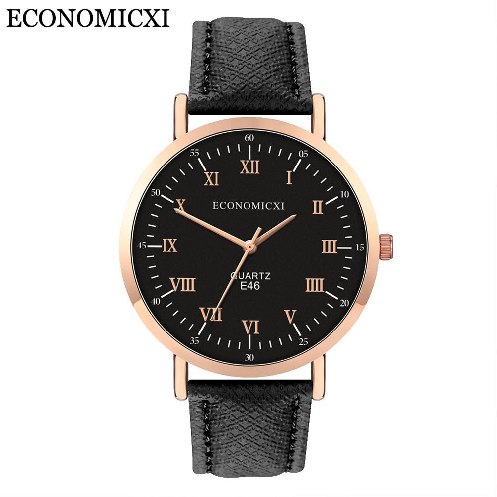 Correa ECONOMICXI manera de la personalidad simple tendencia de cuero mujer reloj de cuarzo de la aleación LadyLeather Reloje Para Mujer Moda