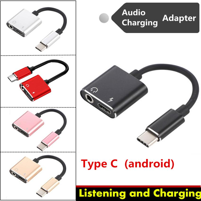 2 in 1 USB Type C to 3.5mm Earphone Jack Audio Adapter for Android Phone AUX Cable Headphone Charger Charging Listening USB-C Converter