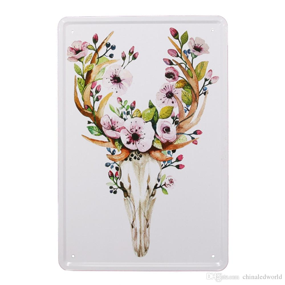 Nordic Style Deer Pattern Metal Painting for Wall Decor