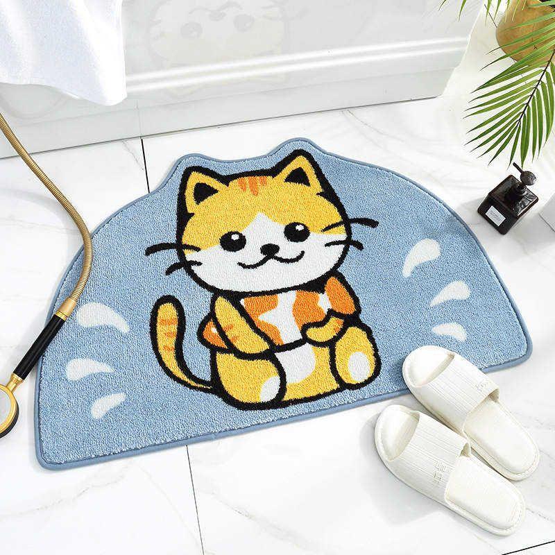 Gato bonito não derrapante durável Capacho Outdoor Entrada Quarto Casa de Banho Cozinha decorativa interior Rug Tapete Tapete