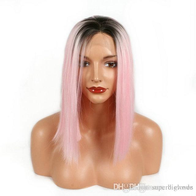 Бесплатная доставка 16 дюймов длина плеча черные корни ломбер розовый прямые волосы термостойкие волокна бесклеевой синтетический парик фронта шнурка для женщин