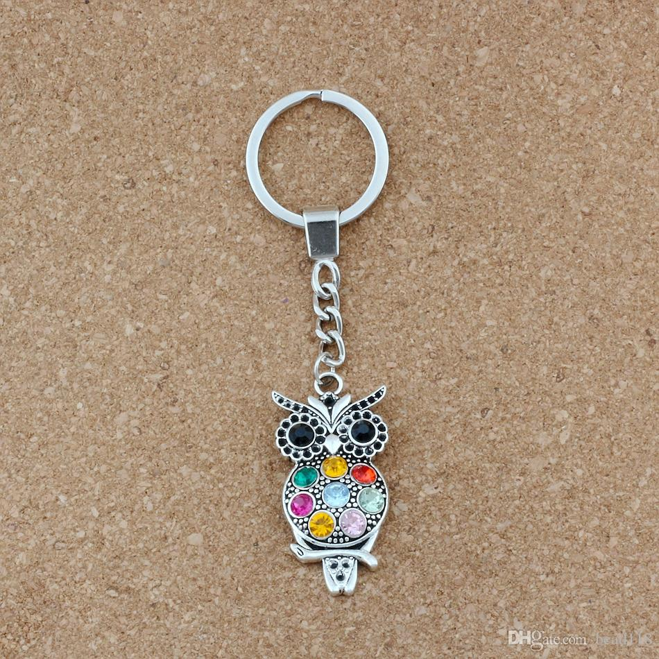 10pcs Keychain Colorful Crystal Owl Alloy Charms Pendants Key Ring Travel Protection DIY Accessories 23.8x113mm S-7