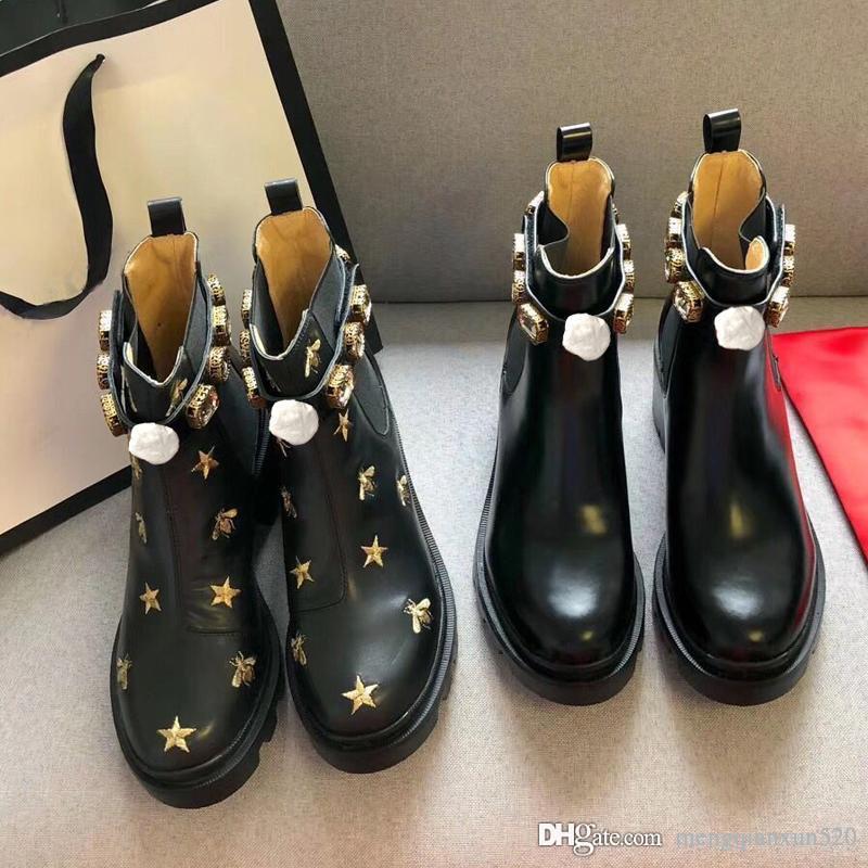 Damen kurze Stiefel 100% Rindsleder Klassische Biene Frauen Schuhe Leder High Heeled Stiefel Mode Diamanten Dame Dicke Ferse Martin Stiefel Größe 35-42