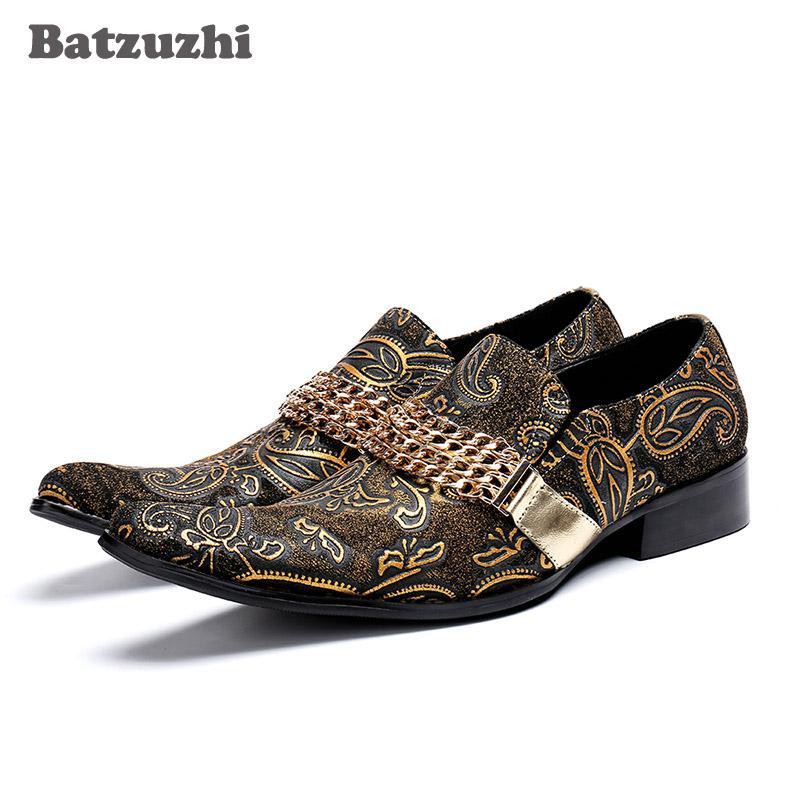 Moda Uomo Scarpe eleganti in pelle Scarpe da uomo Luxury Designer, Scarpe da uomo e da sposa di design, oro, taglia US12