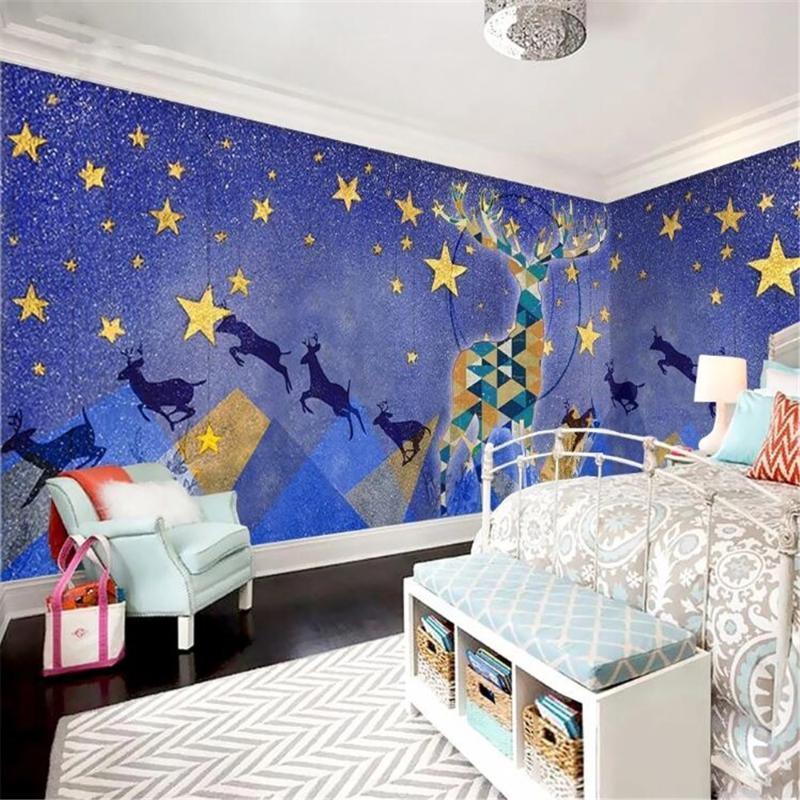 milofi benutzerdefinierte große Tapete Wandbild von Hand bemalt Aquarell starry Raum Wand elk Kinder Hintergrundbild