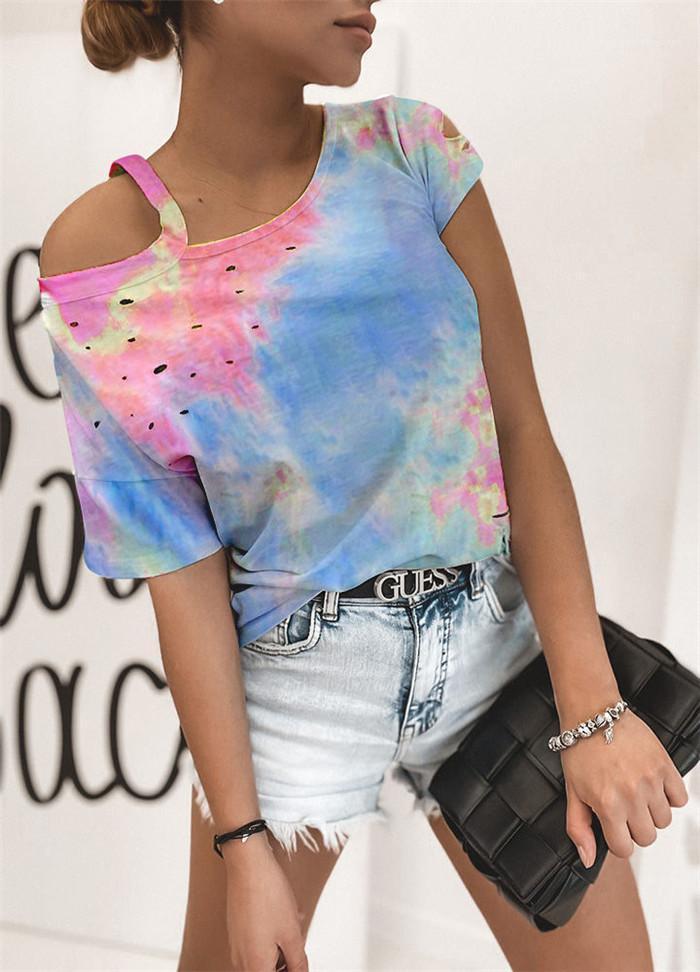 O las camisetas para las mujeres del verano del cuello del hombro camisetas colgantes High Street para mujer Hollow camisetas de manga corta simple