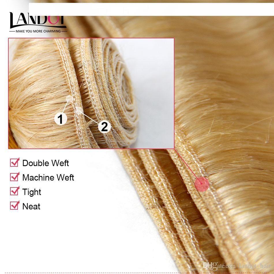 G 컬러 613 #Bleach 금발 유라시아 바디 웨이브 버진 헤어 유라시아 인간의 머리 짜 번들 소프트 두꺼운 다시마 무료 헤어 익스텐션 Dyea