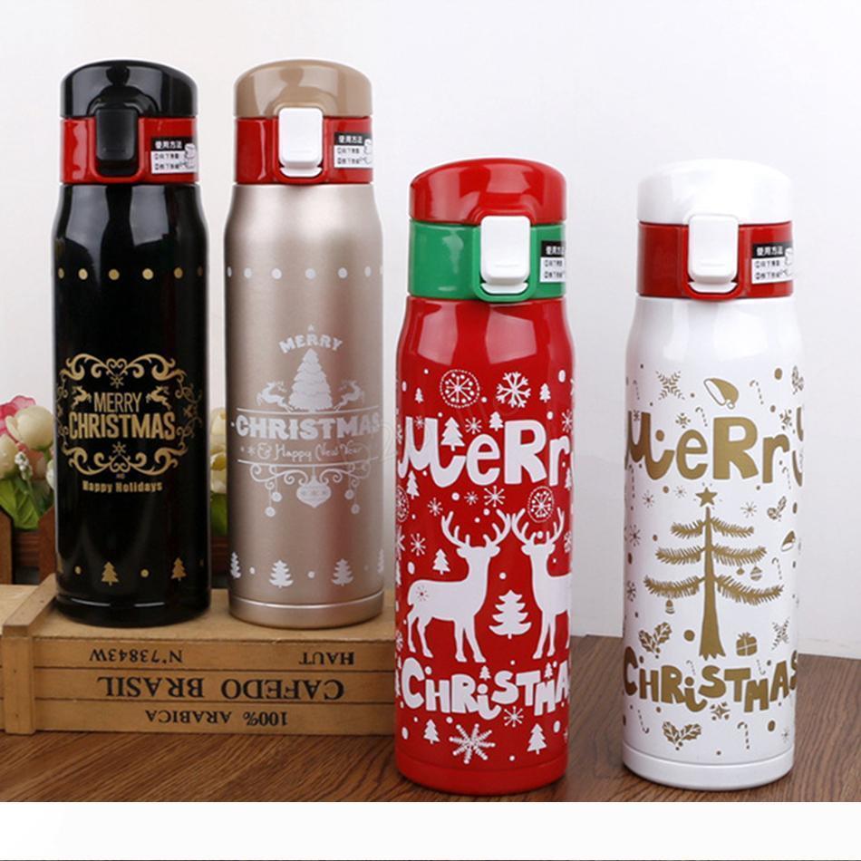 زجاجة ماء 500ML عيد الميلاد عيد الميلاد مزدوجة الجدار الطباعة الفولاذ المقاوم للصدأ بهلوان فراغ الرياضة السفر الترمس قارورة كأس قهوة القدح LJJA2920