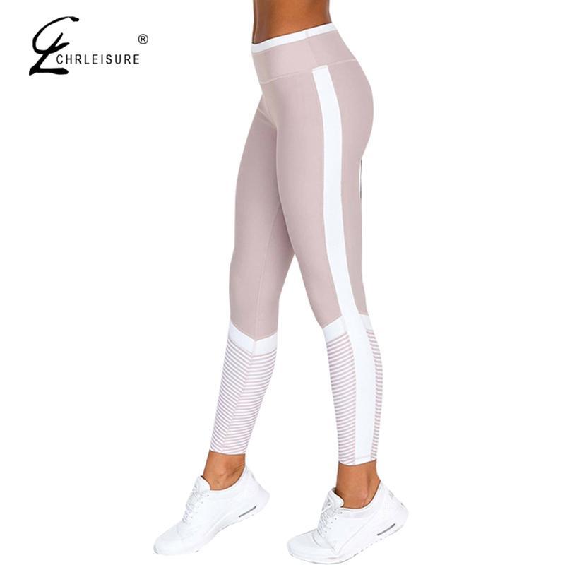 Chrleisure Moda Yan Şerit Tozluk Şınav Kadın Dijital Baskı Tayt Kadınlar Yüksek Bel Egzersiz Tayt Pantolon Kadın Wo C19032801