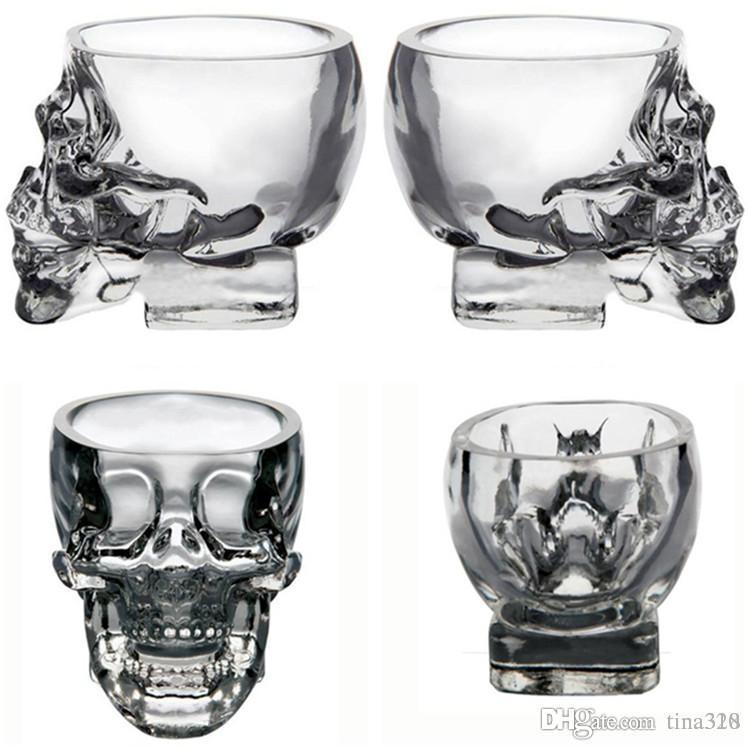 New Drinkware Crystal Skull shape Wine Glasses Drinking Cup 75ML Skeleton Glass Vaccum Beer Glass Mugs IB251