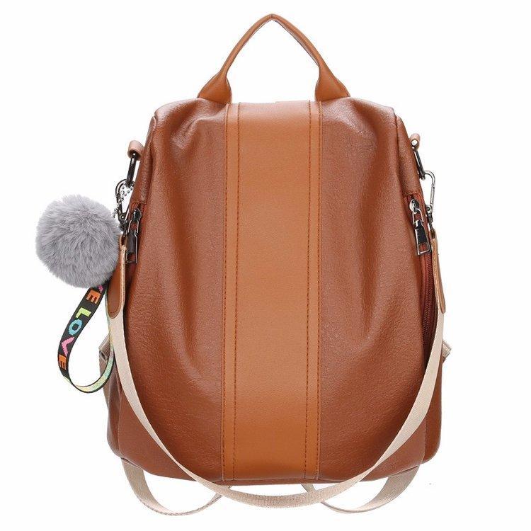 Arbeiten Sie Qualität Leder Anti-Dieb Frauen Rucksack Große Kapazität Haar Kugel Schultasche für Teenager Mädchen Male Reisetaschen