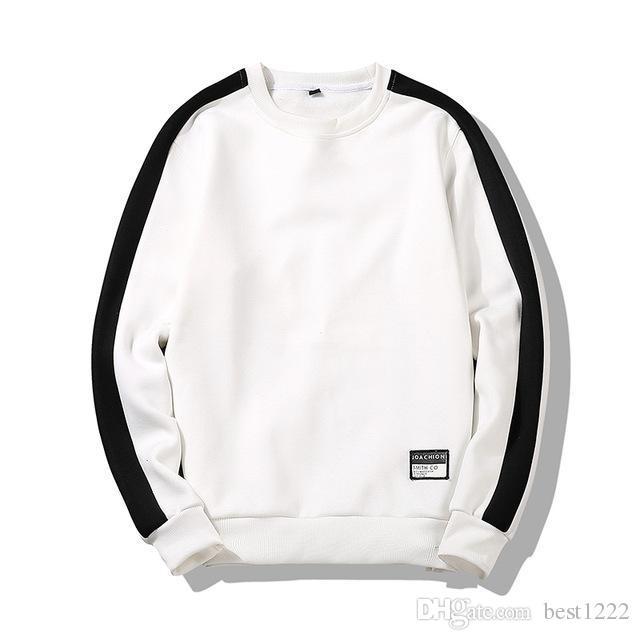 Hommes Patchwork À Manches Longues Pull Crewneck Automne Et D'hiver Sweatshirts Hommes Confortable Noir Blanc Sweats Hommes