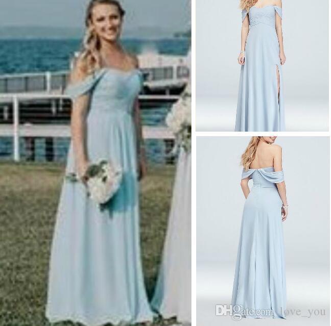 Neue einfache ärmellose Schulterfrei Plissee Mieder Kleid mit Split Brautjungfernkleider Trauzeugin Strand Bodenlangen Plus Size Kleider