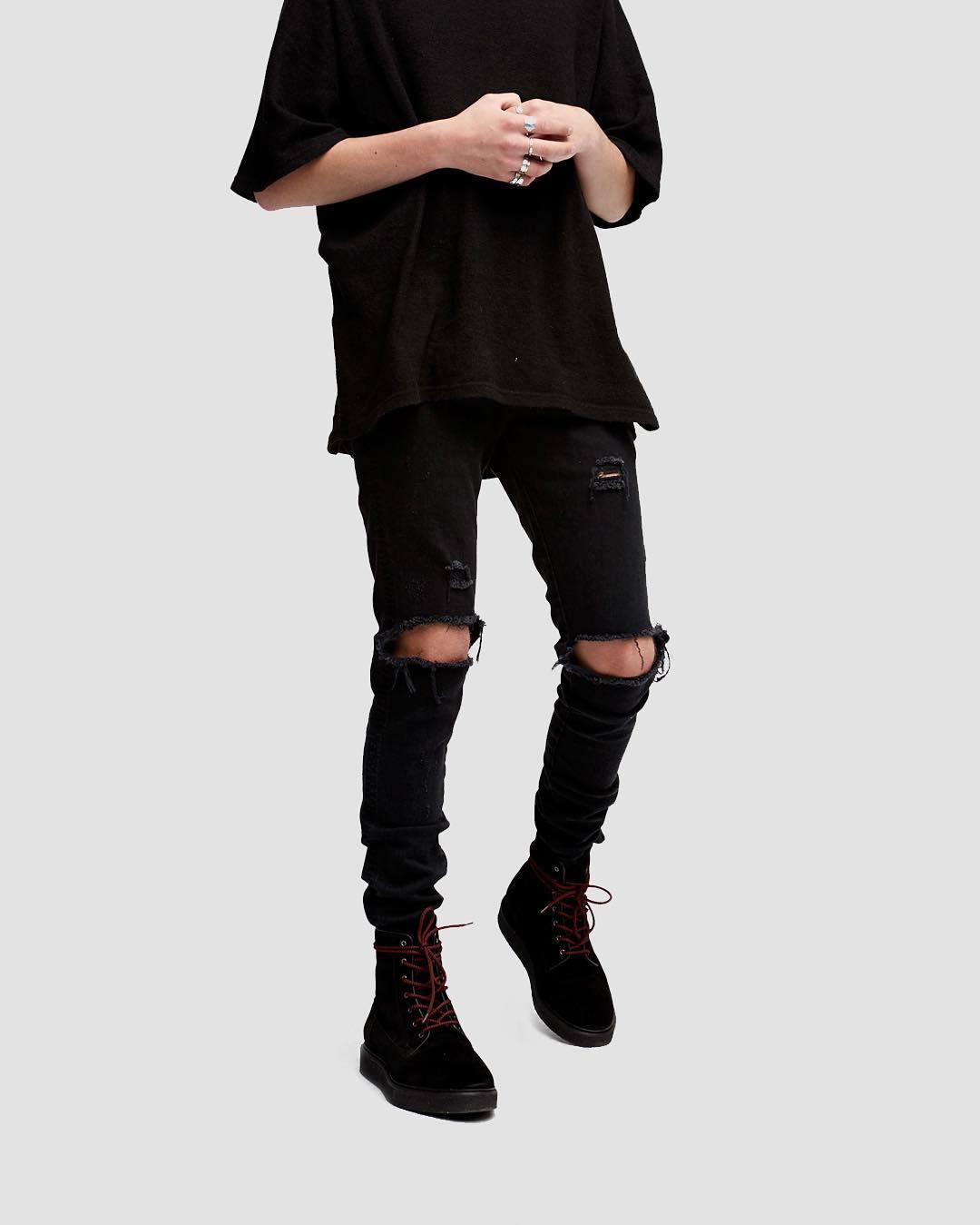 Denim Jeans Pantalons Hommes Destroyed Hip Hop Holes Ripped Denim Noir Skinny Jeans Homme Slim Fit Streetwear Biker Jean Haute Qualité