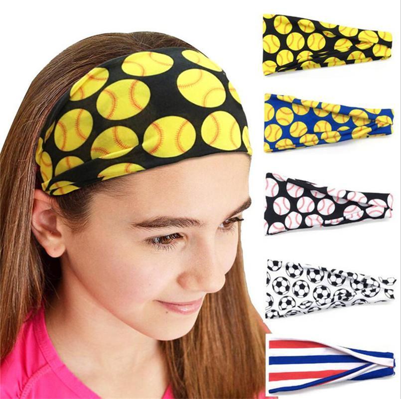 Softball Baseball Football Sports Headbands Girls Gym Yoga Absorb Sweat Hair Band Soccer Ball Ribbons Bandanas Kerchief Women Turban E3405